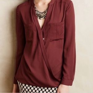 Anthropologie Maeve Faux Wrap Blouse